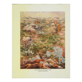1910 Aerial View Map - Yellowstone National Park Poster