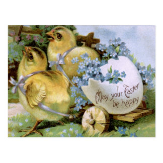 """1910! """"CHICKIE GRAM"""" CHICKS PULLING WAGON EASTER POSTCARD"""