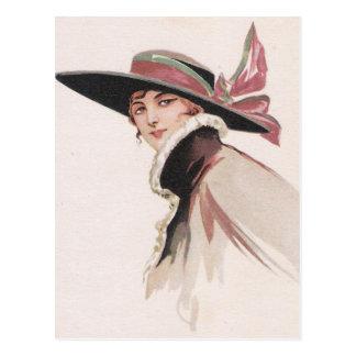 1910 Vintage Woman with Bonnet Postcard