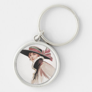 1910 Vintage Woman with Bonnet Silver-Colored Round Key Ring
