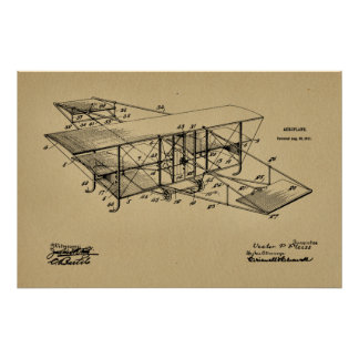 1911 Aeroplane Airplane Patent Art Drawing Print