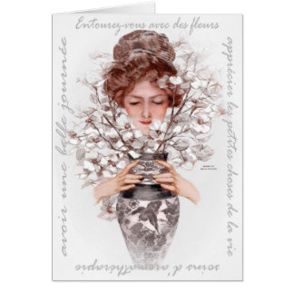 """1911 """"IMMERSE YOURSELF"""" FRENCH FLORAL GREETING CARD"""