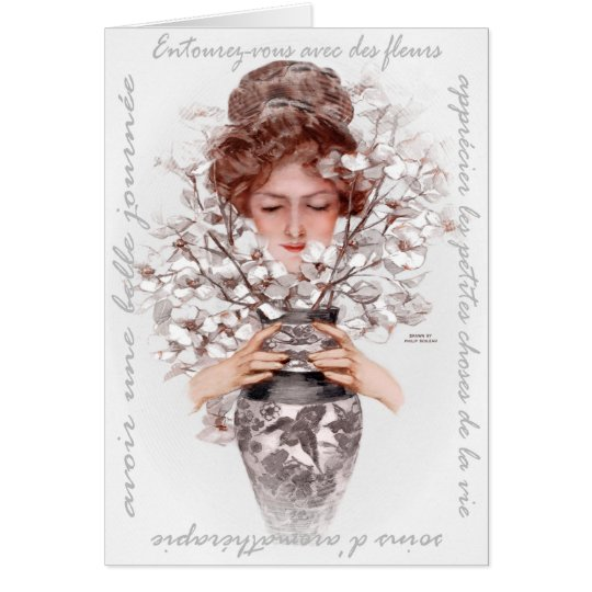 "1911 ""IMMERSE YOURSELF"" FRENCH FLORAL GREETING CARD"