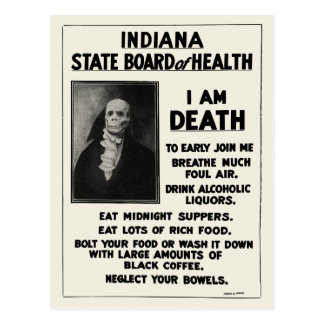 1912 Indiana Health Bulletin Postcard