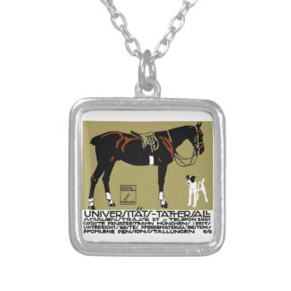 1912 Ludwig Hohlwein Horse Riding Poster Art Silver Plated Necklace