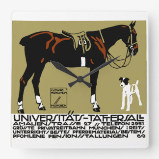 1912 Ludwig Hohlwein Horse Riding Poster Art Square Wall Clock