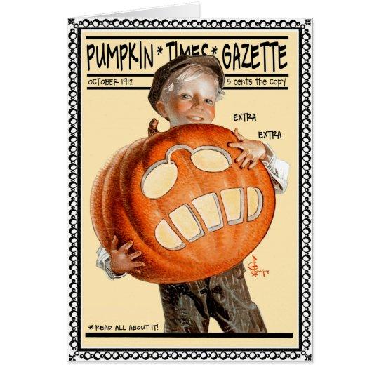 """1912 """"PUMPKIN TIMES GAZETTE"""" HEADLINE NEWS CARD"""