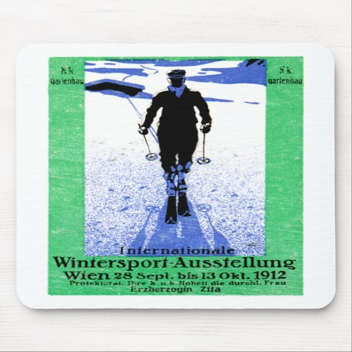 1912 Vienna Winter Sports Poster Mouse Pads