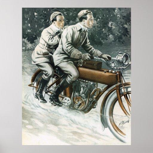 1912 Vintage Motorcycle Illustration Poster