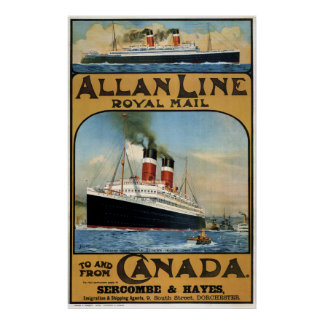 1913 CANADA to UNITED KINGDOM by STEAMSHIP Poster