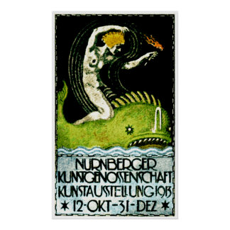 1913 Nurnberg Germany Art Exhibit Poster