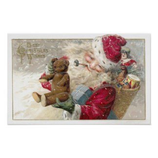 1913 Santa with Teddy Bear and Pipe Posters