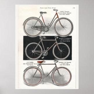 1913 Vintage Ladies Premier Bicycle Ad Art Poster