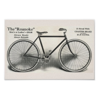 1913 Vintage Roanoke Bicycle Ad Art Poster