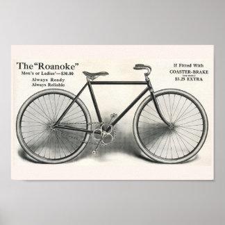 1913 Vintage Roanoke Bicycle Ad Art Poster