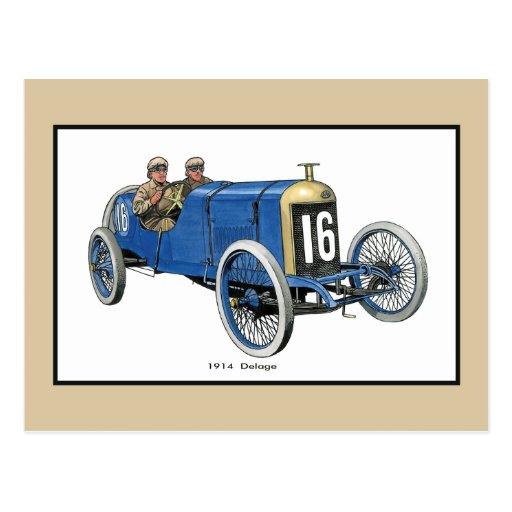 1914 Delage Racing Car Postcard
