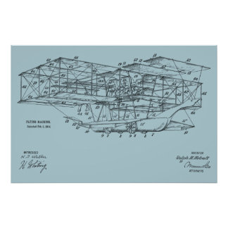 1914 Flying Machine Airplane Patent Art Drawing Poster
