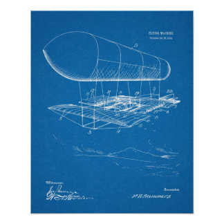 1914 Flying Machine Patent Art Drawing Print