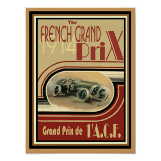 1914 French Grand Prix Poster 12 x 16