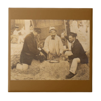 1914 fun on the beach in Germany RPPC Small Square Tile
