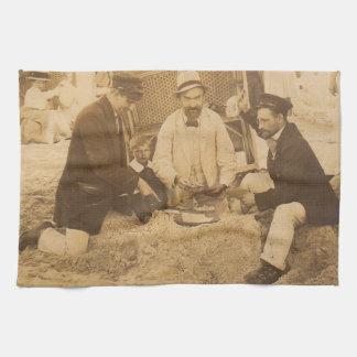 1914 fun on the beach in Germany RPPC Tea Towel