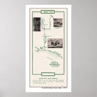 1914 Map, City of Santa Barbara Poster