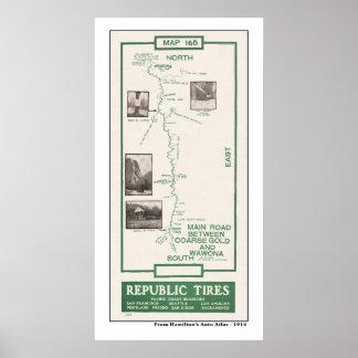 1914 Map, Coarse Gold to Wawona, Yosemite Poster