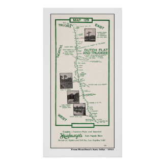 1914 Map, Dutch Flat to Truckee - Poster