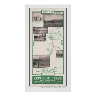 1914 Map, Fallen Leaf Lake and Tallac Poster