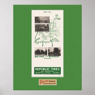 1914 Map, Gilbert's Ranch to Bishop, Big Pine Cal Poster