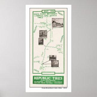 1914 Map, Lompoc to Santa Ynez Poster