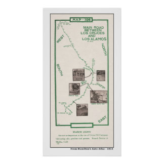 1914 Map, Los Cruces to Los Alamos Poster
