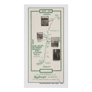 1914 Map, Madera to Coarse Gold Poster