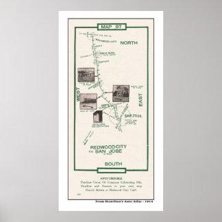 1914 Map, Palo Alto to San Jose Poster
