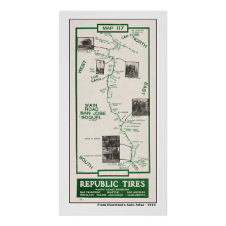 1914  Map, San Jose to Soquel Poster