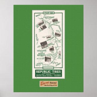 1914 Map, Santa Barbara to Ventura Poster