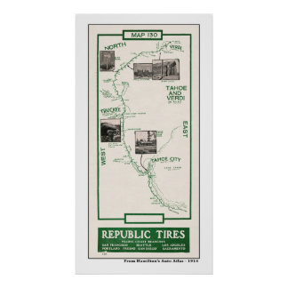 1914 Map, Truckee to Verdi Poster
