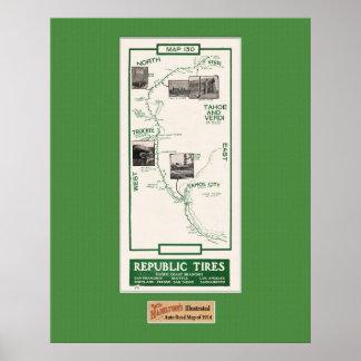 1914 Map, Truckee to Verdi Poster