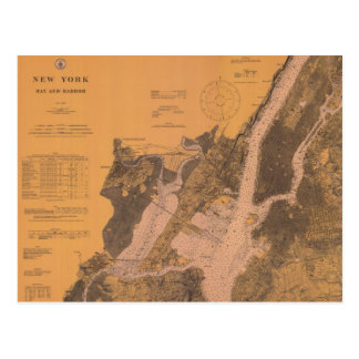 1914 New York Upper Harbor Nautical Chart Postcard