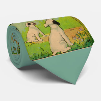 1914 two dogs and a little white cat tie