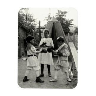 1915 Backyard Boxing Match Rectangular Magnets