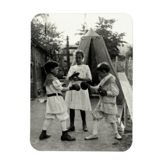 1915 Backyard Boxing Match Rectangular Photo Magnet