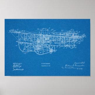 1915 Flying Machine Airplane Patent Drawing Print