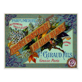1915 French White Lilac perfume Poster