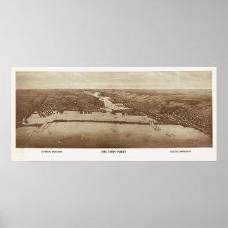 1915 Superior, WI & Duluth, MN Birds Eye View Poster