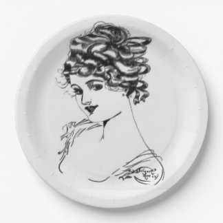 1917 Art Nouveau Ink Drawing By My Grandpa Paper P Paper Plate