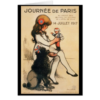 1917 Paris Child and Poodle Propaganda Poster Card