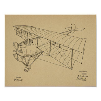 1918 Biplane Airplane Patent Art Drawing Print