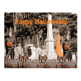 1918 Cemetery Photo Halloween Witches Pumpkin Postcard
