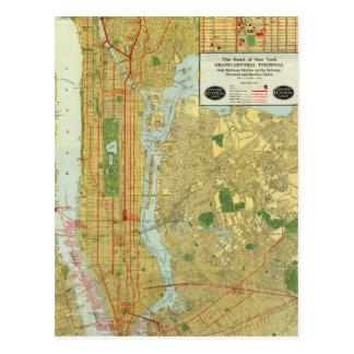 1918 New York Central Railroad Map Postcard